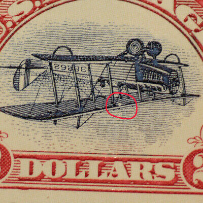"""Inverted Jenny $2 US Postage Stamp, Pane of 6 stamps; """"PINHOLE"""" variety"""