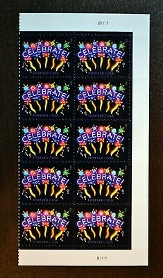 USA Forever - Neon Celebrate! Block of 10 Stamps   party graduation usps postage