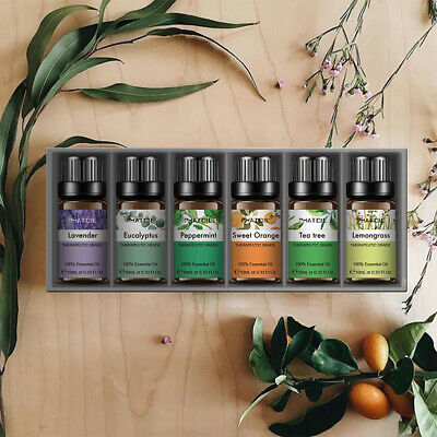 Essential Oil Set -6 Pack- Aromatherapy Therapeutic Grade Oil Lot 10ml Natural G