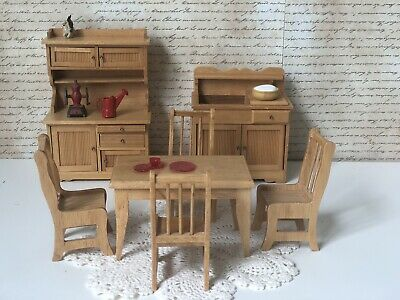 Wooden Miniature Furniture Dollhouse Lot for Dining Room Or Kitchen