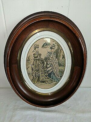 "Gorgeous Antique Victorian Oval Walnut Picture Frame Brass Trim 8"" X 10"" Rabbet"