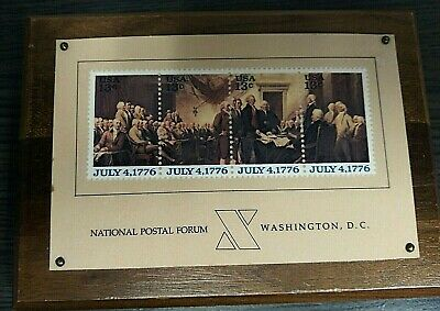 Declaration of Independence 1776 Stamps Plaque Bicentennial 1976