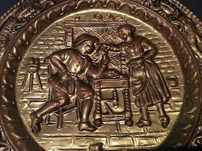 Vintage Embossed Brass Wall Plate Pub Tavern Scene Wall Decor