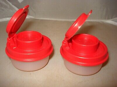 Tupperware Smidgets Salt and Pepper Shakers Set Mini Tiny Bowls Blush Pink Red