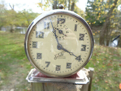 ANTIQUE VINTAGE Clock ALARM PARTS AS-IS  ESTATE INGRAHAM SALUTE PINK BODY