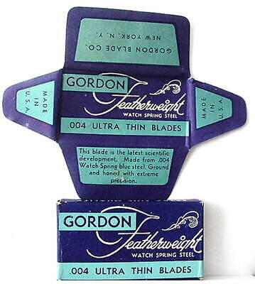 Vintage GORDON FEATHERWEIGHT  FULL BOX DE  Safety Razor Blades
