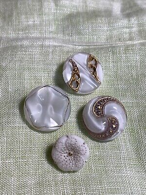 Vintage White Glass Gold Trim 4 Buttons Lot 7-19