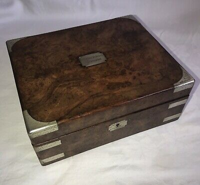 Small Victorian Desk Top Burr Walnut & Brass Bound Campaign Box