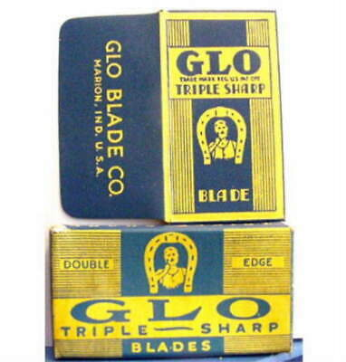Vintage GLO TRIPLE SHARP  HORSESHOE FULL BOX DE  Safety Razor Blades