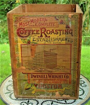 Antique Coffee Wood Crate Dwinell- Wright Country Store Advertisement Boston