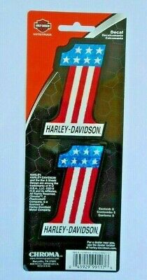 """Harley Davidson  #1 Red White Blue Reflective Decal Set Of Two 2"""" x 3"""""""