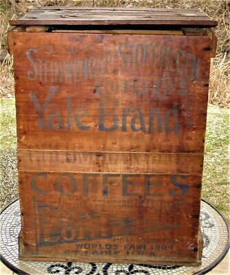 """Antique Original Yale Coffee Wooden Country Store Advertisement Bin 21"""" Rare"""
