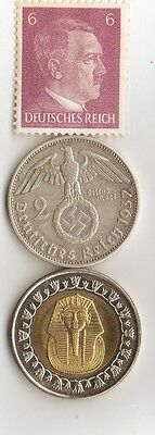 "-*WW2 - *german  SILVER  coin / stamp  + *egyp. ""king  TUT"" coin"