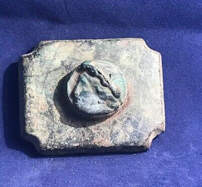 AUTHENTIC ANCIENT ROMAN BRONZE MOUNT/CASKET Or Armour / Chariot WITH FACE