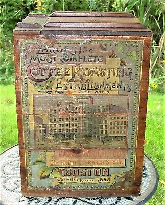 Antique Dwinell- Wright Coffee Boston Wooden Country Store Advertisement Bin/Lid