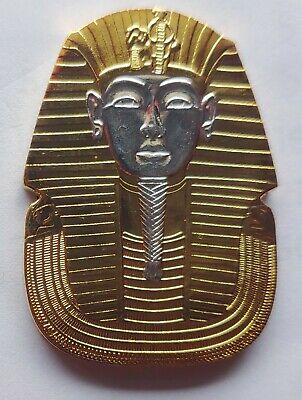 Egyptian Pharaohs Mask Coin Pyramids Silver and 24Kt Gold Plated  New Condition