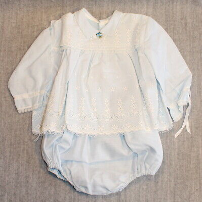 FRENCH COUTY BABY Blue Embroidered Vintage 1960's Cotton Dress & Bloomers Outfit