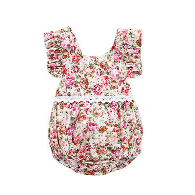 Fashion Sweet Newborn Baby Girl Casual Floral Romper Jumpsuit Clothes Outfits