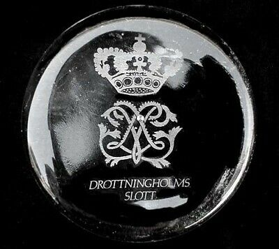 """Vintage Armorial """"Drottningholms Slott"""" Clear Glass Paperweight"""
