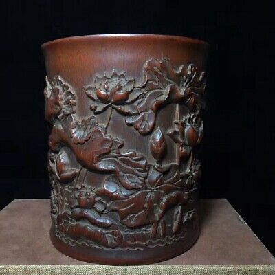 Collectable Handwork Tibet Boxwood Handwork Carve Beauty Lotus Noble Spice Pot
