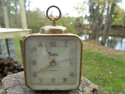 ANTIQUE VINTAGE WIND UP Clock ALARM ESTATE ENDURA FRANCE AS IS PARTS