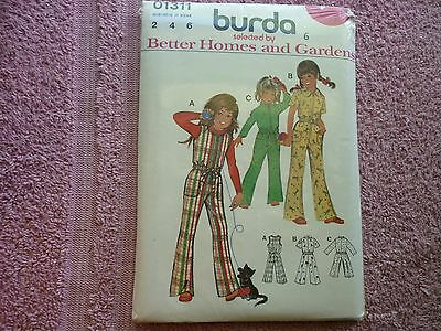 Early BURDA SEWING PATTERN 01311 Girls 1 Piece Jump Suits (3 Styles) Sizes 2-4-6