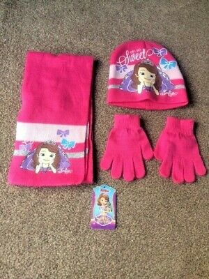 Girls Princess Sofia Hat Gloves and Scarf Size 52 - New!!!