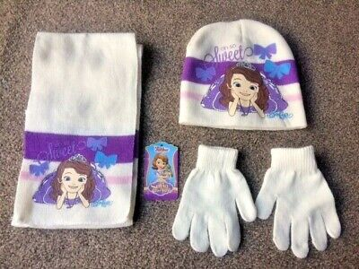 Girls Princess Sofia Hat Gloves and Scarf Size 54 - New!!!
