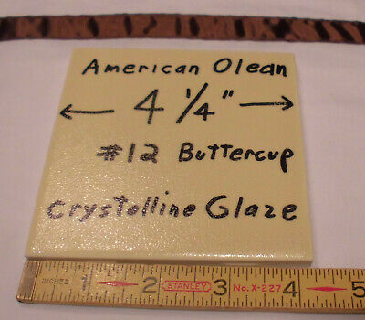"1 pc. *Yellow* Ceramic Tiles *Crystalline Glazed* American Olean Co. 4-1/4""  New"