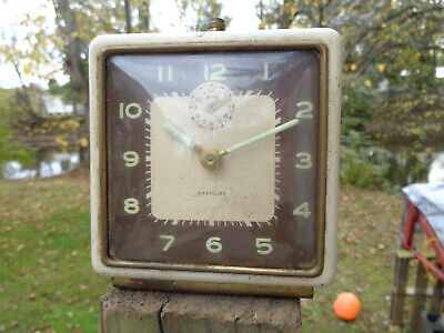 ANTIQUE VINTAGE Clock ALARM WESTCLOX DECO RETRO PARTS AS-IS ESTATE FIND GLOW