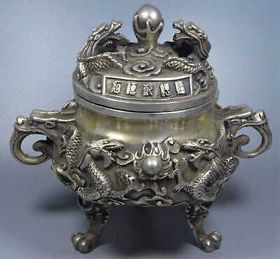 China Collectable Handwork Miao Silver Carve Dragon Play Bead Incense Burners