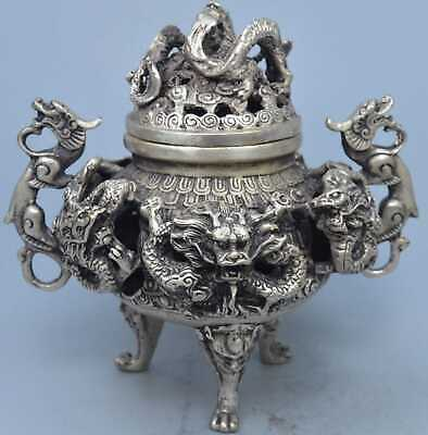Collection China Handwork Old Miao SIlver Carve Exorcism Dragon Incense Burner