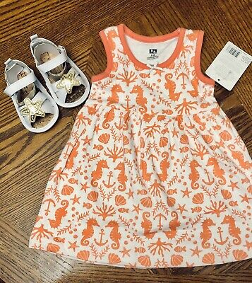 NWT Baby Girl HB SEA DRESS SANDALS SET SIZE 0-3 Mos NEW