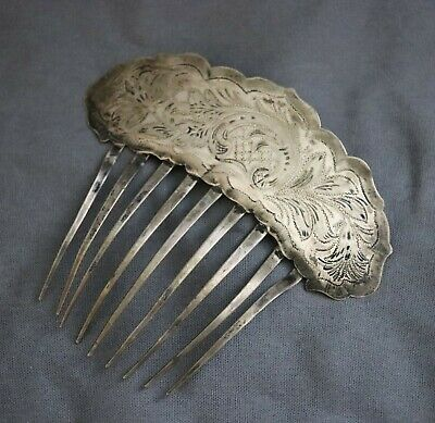 Antique Sterling Silver Victorian Art Nouveau Engraved Hair Pin or Comb