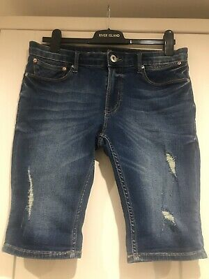 "Mens River Island Ripped  Skinny Fit Denim Shorts (32"") NEW without tags"