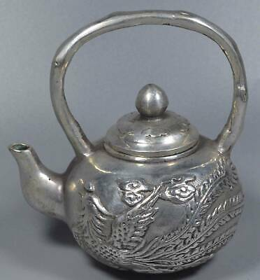Chinese Collectable Handwork Miao Silver Carve Dragon Phoenix Auspicious Tea Pot