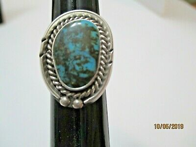 OLD PAWN NAVAJO STERLING SILVER 925 RING Size 5.5  TURQUOISE CENTER STONE  7.7 g