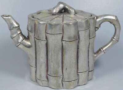 Collectable Handwork Tibet Old Miao SIlver Carve Bamboo Shape Auspicious Tea Pot