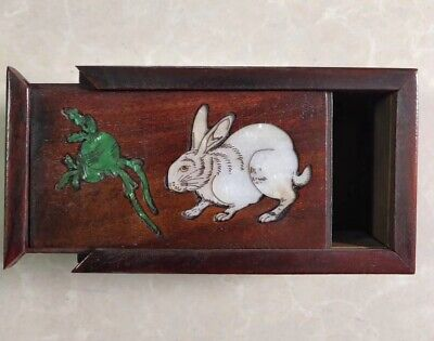Ancient Collectable Handwork Boxwood Carve Lovely Rabbit Usable Old Jewelry Box