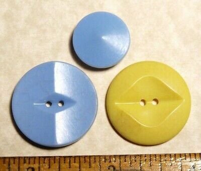 Vintage Colt Fire Arms Buttons #36 cone shape, #64 (blue), #76 HOBART (yellow)
