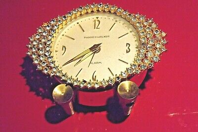 Vintage PHINNEY-WALKER Wind-Up Rhinestone Alarm Clock - SEMCA CLOCK CO. Germany
