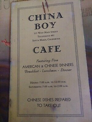 Vintage China Boy Cafe Chinese Food Restaurant Menu 1930 1940 Santa Maria Ca