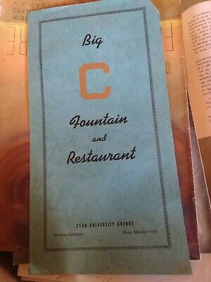 Big C Fountain and Restaurant Menu Vintage