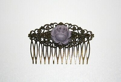 Vintage Rose Floral Hair Comb Pin Antique Bronze Victorian Wedding Bridal