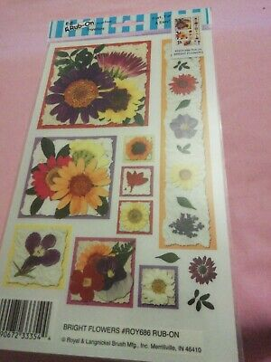 E-z Rub On Transfers By Royal & Langnickel bright flowers 686 new