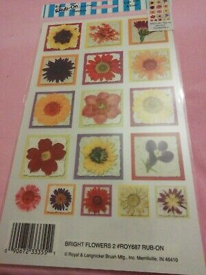 E-z Rub On Transfers By Royal & Langnickel bright flowers 687 new