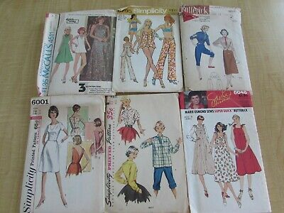 40 VTG SEWING PATTERNS LOT 1950s-70s CUT Dresses TOPS Skirts+ Ladies Small 30-34