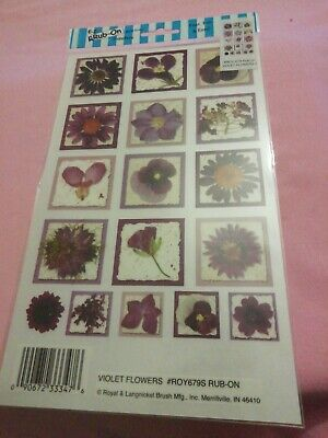 E-z Rub On Transfers By Royal & Langnickel violet flowers new