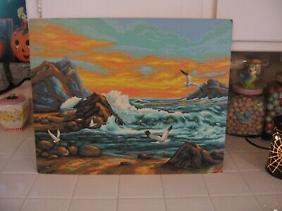 Beautiful Completed Paint By Number Painting Of Ocean Sea Scape With Seagulls