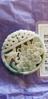 Chinese Bird with lotus flower Carved natural  Green  Jade Pendant ~ GORGEOUS